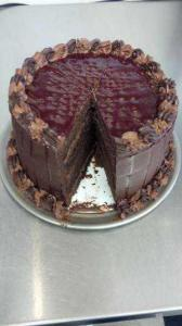 Chocolate Cake with Chocolate Mousse and Raspberry Fillings