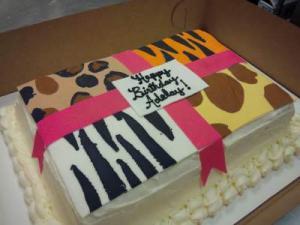Animal Print Gift Box Design Cake