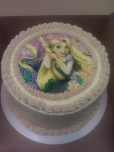 Six inch cake with transfer sheet design