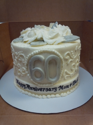 60th Anniversary Cake with Silver/Pearl Accents
