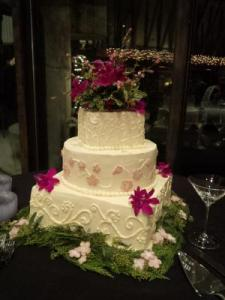 Three Tier Wedding Cake with Marzipan Cherry Blossoms and Fresh Flower Accents
