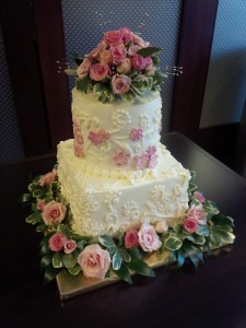 Two Tier Pink Roses Cake with Fondant and Fresh Flower Roses
